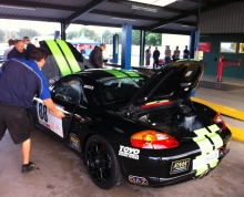The Boxster in scrutineering at Oulton, Aug 2013